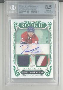 Jesperi Kotkaniemi auto patch card /25 2018-19 UD Artifacts RC BGS 8.5 Canadiens