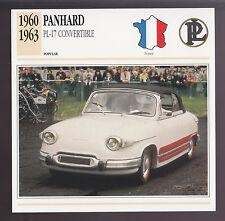1960-1963 Panhard PL-17 Convertible Car Photo Spec Sheet Info CARD 1961 1962