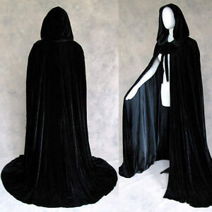 Lined Black Velvet Cloak Cape Wicca SCA LOTR Gothic Game of Thrones Cosplay GOT