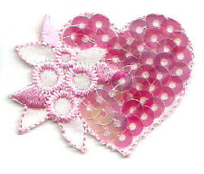 HEART SEQUIN/ EMBROIDERED PINK IRON ON APPLIQUE PATCH