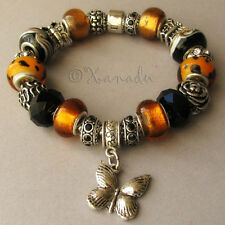 The Great Monarch Butterfly Migration Black Amber European Style Charm Bracelet