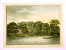 REGENCY ENGLISH LANDSCAPE WITH RIVER W/COL M.M.1818