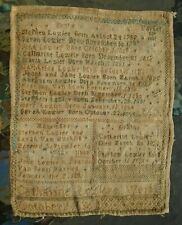 fine antique folk art sampler Stephen Lozier family record