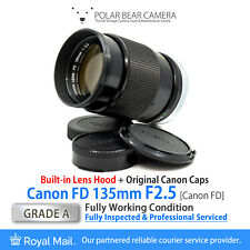⭐SERVICED⭐ CANON FD 135mm F2.5 + Original Caps + *Built-in Hood* [GRADE A]