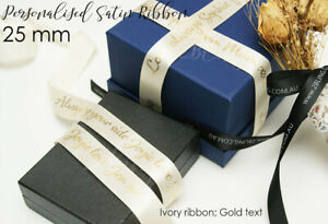 25mm wide Personalised Custom Print Satin Ribbon wedding party favour 1sideprint