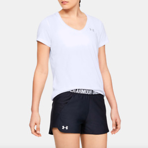 Under Armour Womens White UA Tech Twist V-Neck Training Tee Size L $24 *STAINS