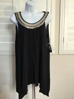 Women's black shark bite tunic top with embellished scoop neck size medium nwt