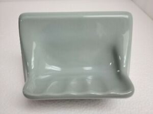 Green Silver Ceramic Soap Dish Tray Tub Shower Blue Vintage Mid Century Modern
