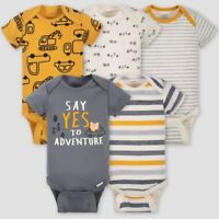 Gerber Baby Boys 5-Pack 100% Cotton Onesies Bodysuits - NEW - FREE SHIPPING