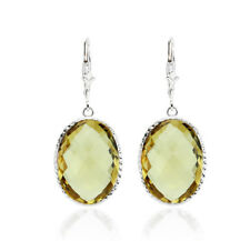 14K White Gold Earrings With Oval Shaped Citrine Gemstones