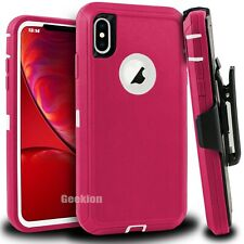 For Apple iPhone X XS MAX XR Shockproof Rugged Defender Case Cover w/ Belt Clip