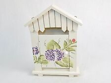 Wooden Key Box ~ Charming Garden House, Wall Mount, 4 Hooks, Floral Hand Painted