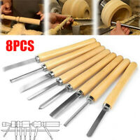 8pc High Speed Steel Wood Turning Lathe Chisel Tools Woodworking Carving Set