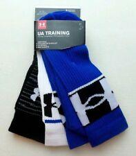 Under Armour Men's Crew Socks 3 Pack Large Blue Black White Heatgear UA Training