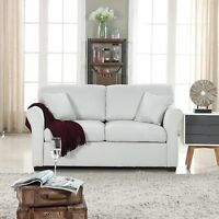 Small Space Beige Loveseat Sofa Comfortable Fabric Living Room Love Seat