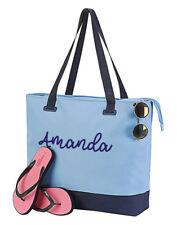 Large Personalised Beach Bag, Zip Up, Internal Pocket, Any Name, Blue or Black
