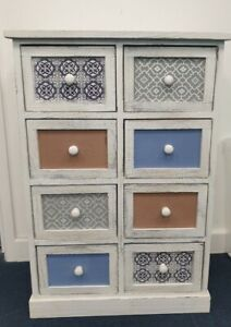 8 Drawer Mosaic Chest of Drawers Blue/ Pattern 80x54x25cm  Hand Painted #12298