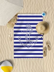 "58"" x 39"" Striped anchor design microfibre beach towel sun bathing towel"