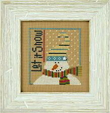 Lizzie Kate Let It Snow F114 Snowman Cross Stitch Pattern with Snowflake Button