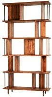 """79"""" T Carisio Bookcase Modern Contemporary Reclaimed Teak Wood Metal Accents"""