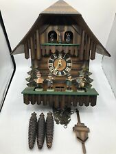 Nicely Done German Kuner Made Shingled Roof Cuckoo Clock With Moving Bandsmen