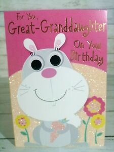 Great-Granddaughter On Your Birthday Card, Cute Bunny Rabbit With Glitter