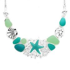 Starfish Statement Necklace Sea Glass Womens Silver Fashion Jewellery Gift Boxed