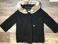 Vintage Hurtig Furriers Fur Collar Wool Coat. Rare Design! Sz M-L See Details