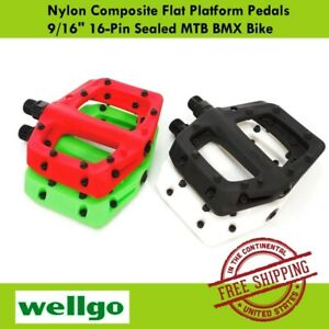 "Wellgo Nylon Composite Flat Platform Pedals 9/16"" 16-Pin Sealed MTB BMX Bike"