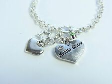 MIDDLE SISTER SILVER PLATED CHAIN CHARM BRACELET