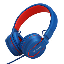 Yomuse On Ear Foldable Adjustable Headphones for Kids Children Adults Blue Red