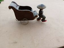 Vintage Ceramic Person With Wire Cart/Plant Holder - Tilso Japan