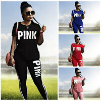 Women's Short Sleeve Printed Tops T-shirt Casual Tracksuit Pants2 piece Suit