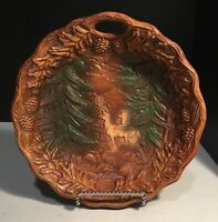 VINTAGE SYROCO BOWL WITH DEER IN FOREST