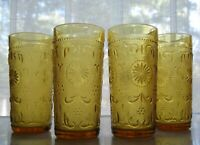 Brockway Glass 4 Amber American Concord Sandwich 11 ounce Tumblers