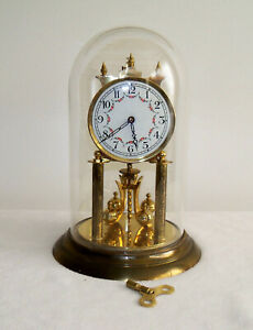 Rare 1950s J. Kaiser 400-Day Anniversary Clock with Glass Dome - Nice, Runs