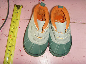 Baby boy size 2 Carters soft baby winter boots gray green orange cute easy on