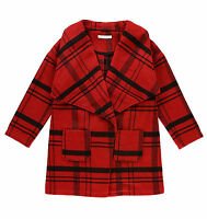 GIRLS COAT WOOL CHECKED MARKS & SPENCER OPEN FRONT 9-14Y RRP £35 BRAND NEW