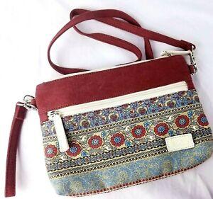 Canvas Artisan Purse Crossbody Shoulder Bag Clutch Removable Strap Fabric Boho