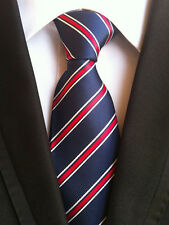 071KT Hot mens silk neck tie blue red white stripe waterproof wedding party ties