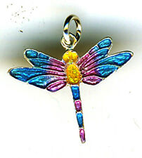 """925 Sterling Silver Multi Coloured Enamelled Dragonfly Pendant  L 20mm  (3/4"""")"""