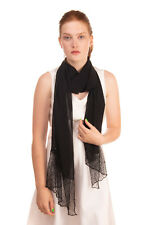 RRP €475 CLIPS Chiffon Shawl Wrap Scarf Lace Details Beaded Sequined