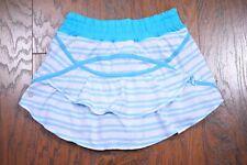 Lululemon Run: Track Attack Skirt Twin Stripe White Spry Blue Women's 4