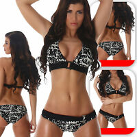 Damen Neckholder Bikini Bademode Schwarz Beachwear Swimmwear Push-Up 34 36 38 40
