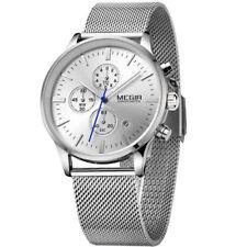 MEGIR Stainless Band Calendar Chronograph Luminous Mens Dress Quartz Wrist Watch