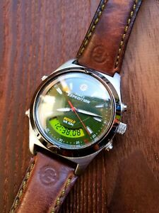 Vintage Timex Expedition Alarm Watch Digital & Analog Green Dial U.S. Pattent