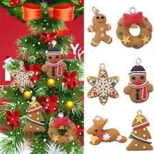6X Lebkuchen Weihnacht Deko Lebkuchenmann Girlande Sterne Baum Schmuck Anhänger