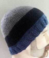 Men's beanie,large,blue,black,grey,hand-knitted warm winter hat, pure wool