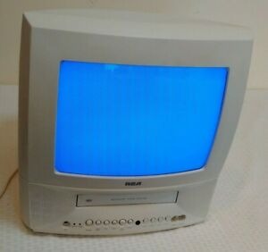 RCA 13'' TV VCR Combo Television CRT WORKS T13072 White Swivel TV/VCR 2000 Gamer