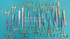 32 PCS GOLD HANDLE PREMIUM GRADE CANINE FELINE SPAY PACK KIT+SCALPEL BLADES #10A